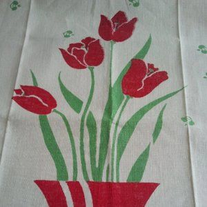 Vintage 1930's Hand Stamp Tea Towel